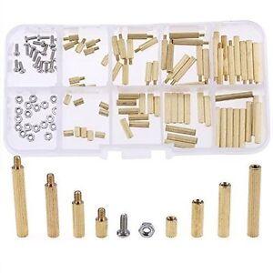 120Pcs M2 Male Female Brass Spacers Standoff PCB Board Screw Nut Assortment New