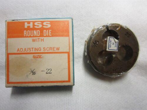 "5//16-22 Thread Adjustable Round Die 1-1//2/"" Outside Diameter High Speed Steel"
