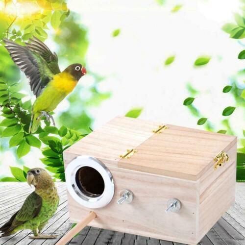 Parakeet Nest Box Birds House Budgie Wood Breeding Parrotlets For Lovebirds V3J7