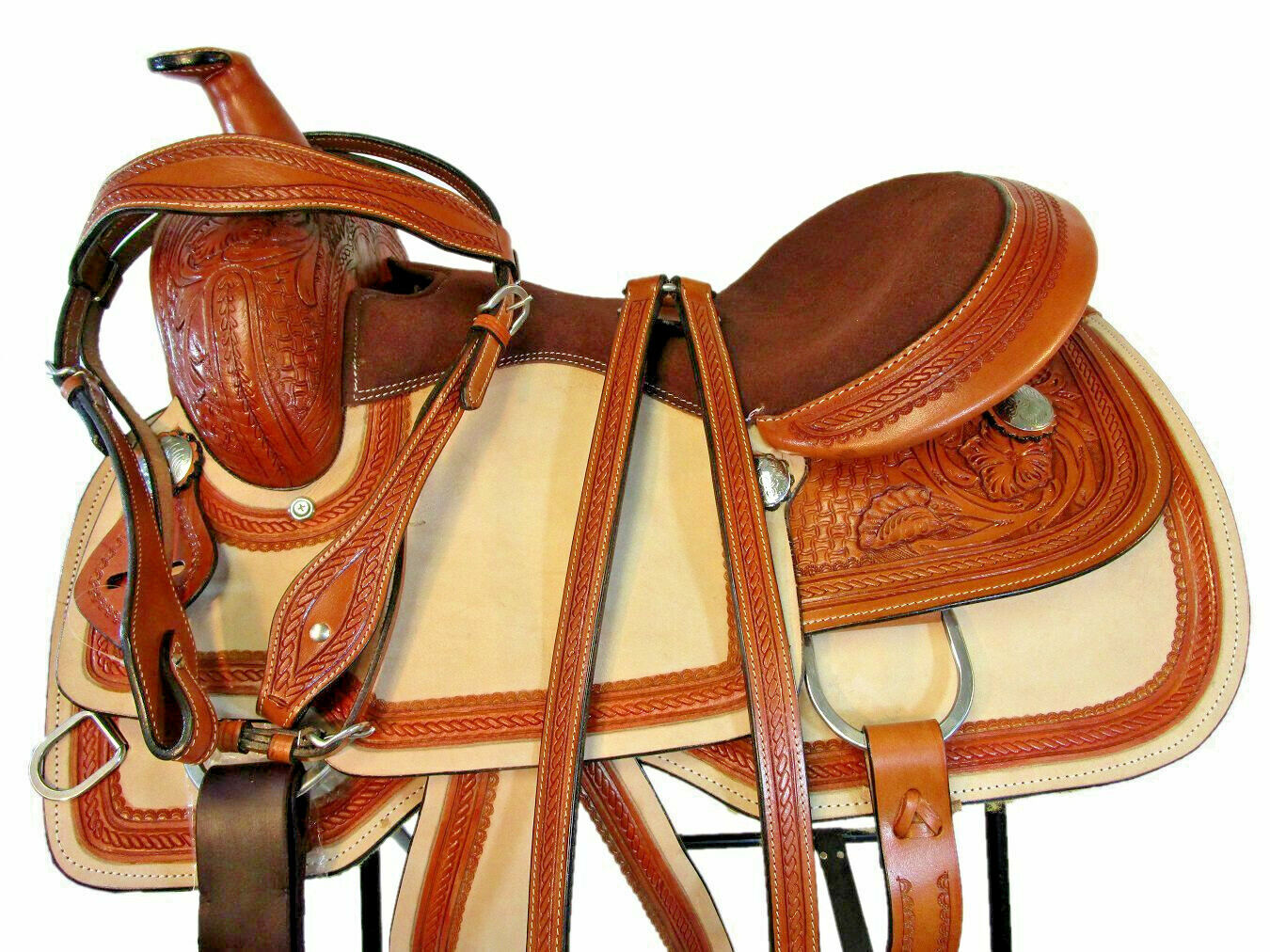 Pro 16 15 occidentales placer Trail Floral silla caballo Hermoso Cuero fileteado
