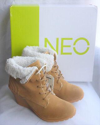 Adidas Neo Chill Cuña en Marrón Zapatos Botas Con Cordones Piel Sintética Caja señoras talla 7