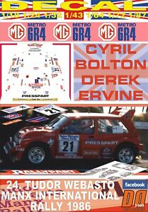 1986 DnF 05 DECAL MG METRO 6R4 W.RUTHERFORD RAC R