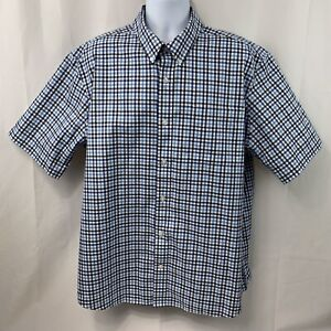 Duluth-Trading-Co-Mens-Short-Sleeve-Blue-White-Button-Down-Plaid-Shirt-Size-XL