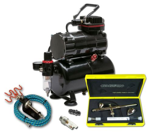 PISTON COMPRESSOR WITH TANK AND HARDER /& STEENBECK EVOLUTION 2 in 1 AIRBRUSH KIT