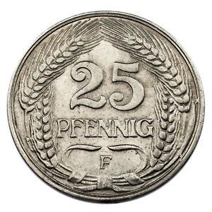 1909-F German Empire 25 Pfennig Coin (Uncirculated Condition) KM# 18