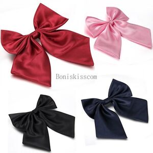 Womens-Girls-Fashion-Party-Banquet-Solid-Color-Adjustable-Bow-Tie-Necktie-NEW