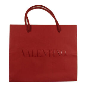 NEW AUTHENTIC VALENTINO RED PAPER SHOPPING GIFT BAG MEDIUM 10 x 8.5 ... 7d4411d93aa