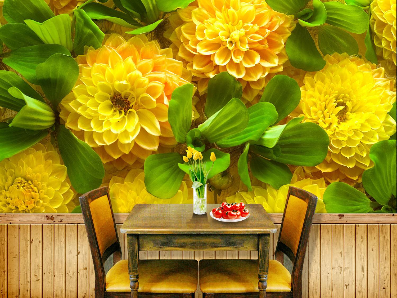 3D Fleur Feuille 5 Photo Papier Peint en Autocollant Murale Plafond Chambre Art