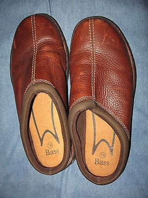mens 7 w bass brown leather slip on casual shoes  ebay