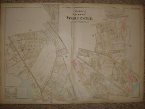 1896 WORCESTER MASSACHUSETTS ANTIQUE HANDCOLORED MAP NR