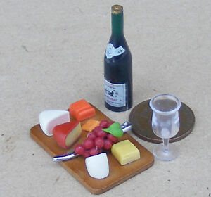 1-12-Scale-Cheese-amp-Wine-On-A-Board-Tumdee-Dolls-House-Delicatessen-Grapes-Shop