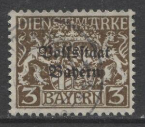 1918 états Allemands Bavière 3 Pf. Officiel Question Avec Surimpression Utilisé-afficher Le Titre D'origine Limpide à Vue