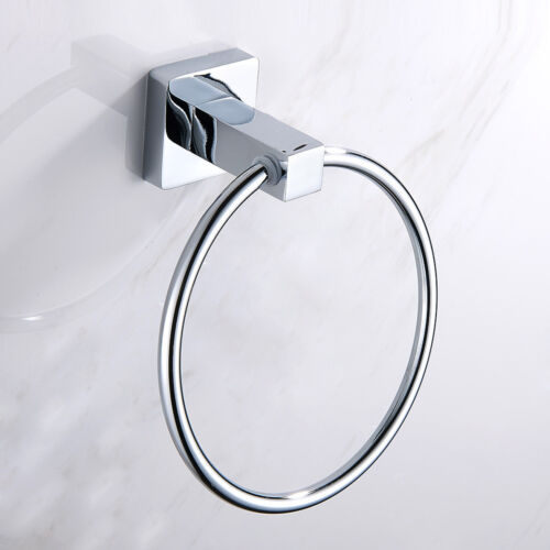 Round Square Hand Towel Ring Holder Wall Mounted For Kitchen Bathroom 082