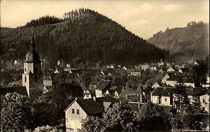 Friedrichroda-Thueringen-DDR-s-w-Postkarte-1961-Teilansicht-Blick-ueber-die-Daecher