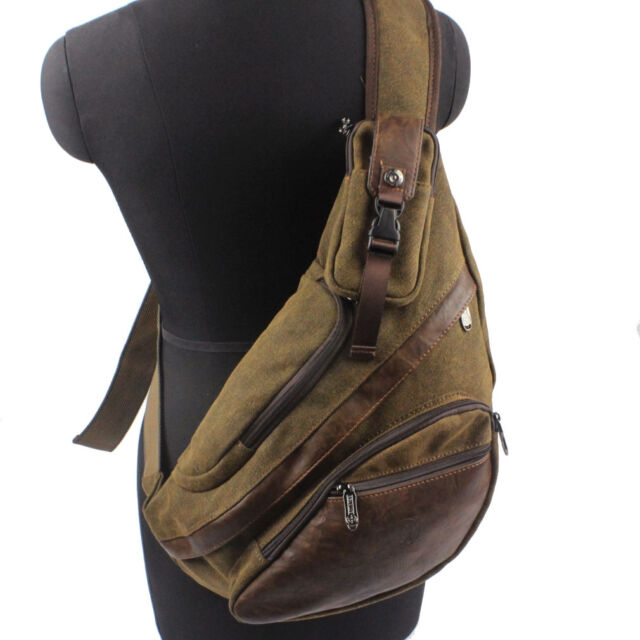 Men Canvas Sling Crossbody Bag Backpack Travel Hiking Shoulder Chest Pack Pouch