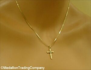 14k-Yellow-Gold-Antique-Diamond-Etched-Cross-Pendant-18-034-Serpentine-Chain