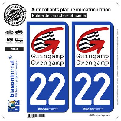 Goed 2 Stickers Plaque D'immatriculation Auto | 22 Guingamp - Ville | 22200 2019 Nieuwste Stijl Online Verkoop 50%