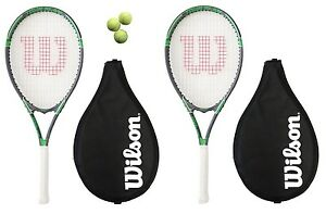2-x-Wilson-Tour-Tennis-Rackets-L3-Covers-With-Strap-3-Tennis-Balls-RRP-110