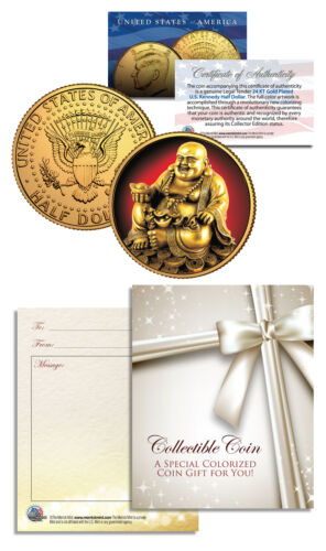 LAUGHING BUDDHA Budai JFK Half Dollar 24K Gold Plated LUCKY COIN Happy Hotei