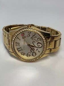 Betsey-Johnson-Ladies-Quartz-Watch-Gold-Tone-Stainless-Steel-Working