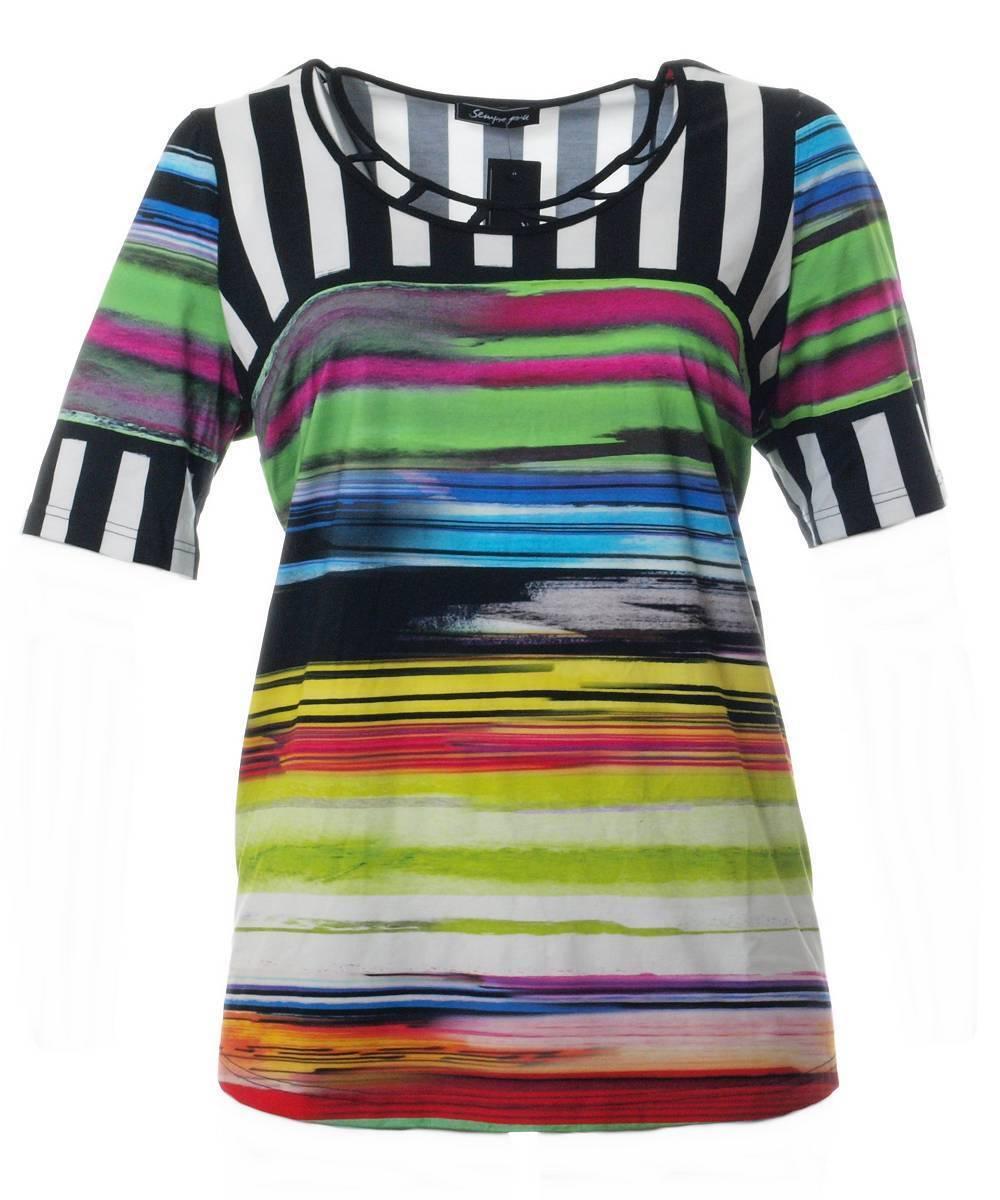 Sempre Piu Shirt kurz große Größen in Grün Bunt Gitter-Ausschnitt Gitter-Ausschnitt Gitter-Ausschnitt kurzarm   Spezielle Funktion    Erste Qualität  c5758a