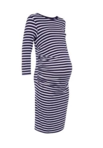 BN New Look Maternity Body Con Navy /& White Stripe Dress Size 10,12,14