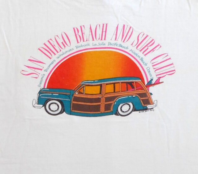 VINTAGE T SHIRT 80's San Diego Beach And Surf Club WOODIE WAGON Sunset Board
