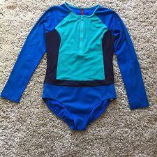 Spanx Rashguard One Piece Swimsuit Color Block 16 Aqua Navy Blue Modest