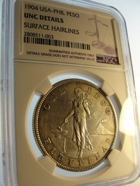 1904 Philippines Peso Us Administration Ex Rare Key Date Philadelphia Mint