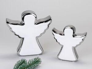engel stehend aus steingut wei silber moderne formano advent u weihnachtsdeko ebay. Black Bedroom Furniture Sets. Home Design Ideas