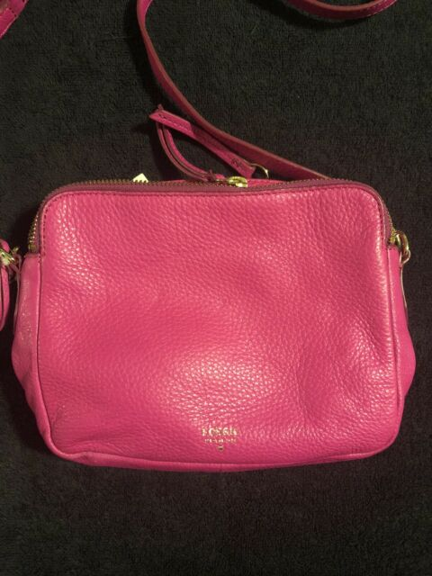 "Fossil ""Sydney"" Cross-Body Hot Pink Leather Bag - NWT!"
