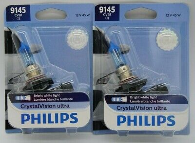 PHILIPS 9145 CV X2 BULBS H10 CRYSTAL VISION ULTRA 45W HEADLIGHT HALOGEN OEM 12V