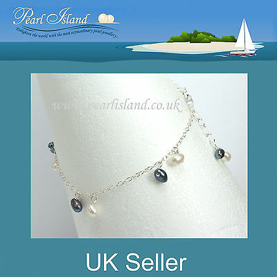 11 inch White Freshwater Pearl Sterling Silver Ankle Bracelet Anklet 28cm
