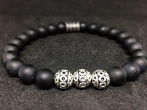 Onyx-matt-Armband-Bracelet-Perlenarmband-Silber-Beads-8mm