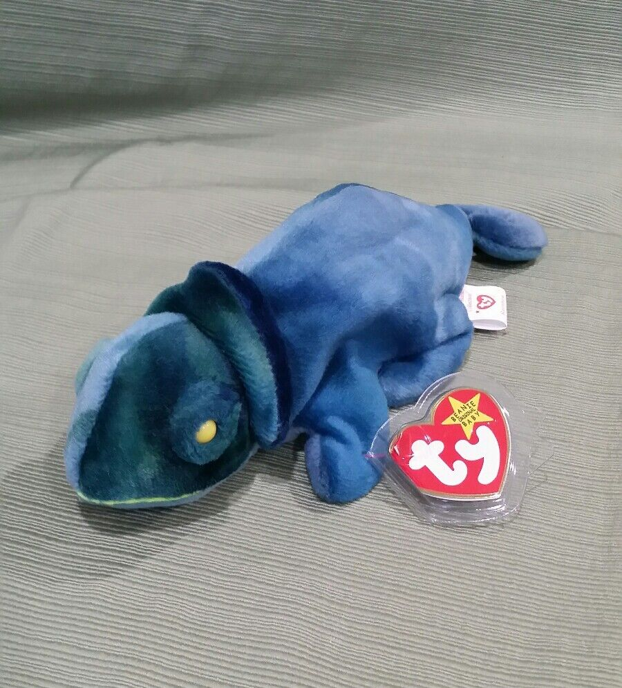 Ty Beanie Baby Rainbow the bluee Chameleon  Fabric Mixed up w Iggy