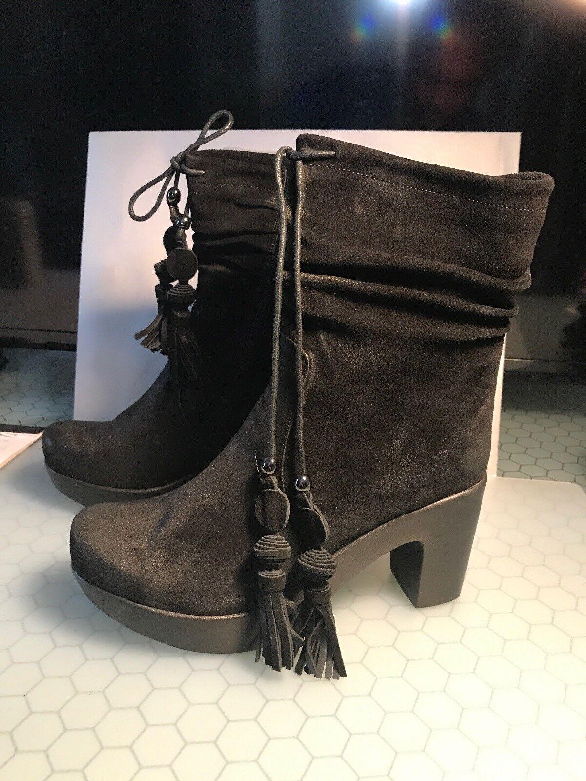 Antílope negro Cepillo Borlas botas botas botas De Gamuza Talla 41 Nuevo en Caja  estilo 733 Shoshana   ventas en linea