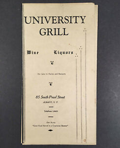 Albany-NY-c-1940-Food-amp-Drink-Menu-UNIVERSITY-GRILL-85-South-Pearl-Street