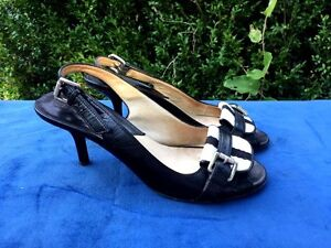 MICHAEL-KORS-Size-7-Leather-Womens-Shoes-Horse-Buckle-High-Heels-Slingback-SEXY