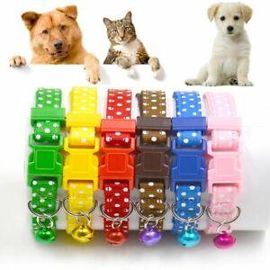 Animal-Tejido-de-nylon-Collar-de-mascota-Polka-Bell-Perro-cachorro-Cat-kitten