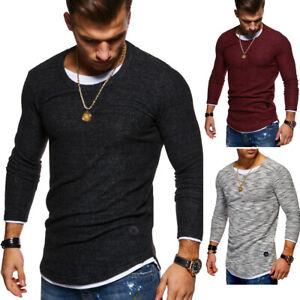 Herren-2in1-Pullover-Feinstrick-Rolli-Longsleeve-Sweater-T-Shirt-Slim-Fit-NEU