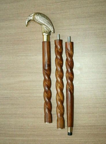 Details about  /Vintage Golden Brass Crow Head Handle Walking Stick Brown Wooden Handmade Cane