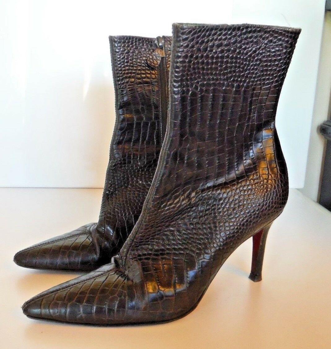 Ann Taylor 6.5 Brown Alligator Texture Women's Boots ITALY