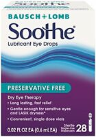 5 Pack - Bausch & Lomb Soothe Preservative Free Lubricant Eye Drops 28 Each on sale