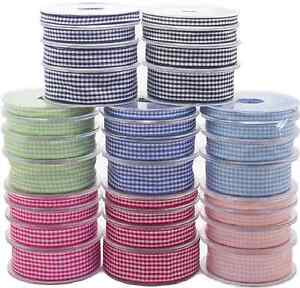 Full-Reel-Quality-Gingham-Ribbon-6mm-10mm-15mm-25mm-x-20meter-Choice-of-Colours