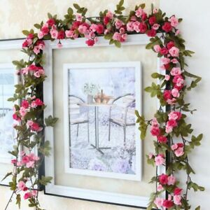 2-4m-Long-Silk-Rose-Fake-Flower-Ivy-Vine-Leaf-Garland-Wedding-Party-Home-Decor