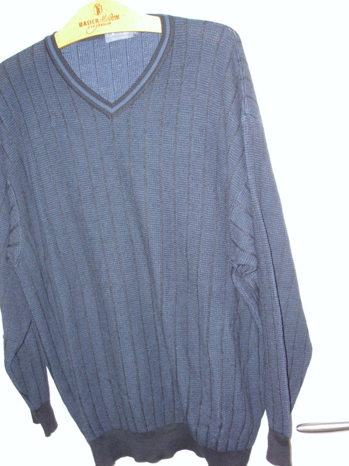 GARDEUR Merino Wolle Langarm Business Pullover V Ausschnitt Blau Schwarz Gr. 60 | Deutschland Shops