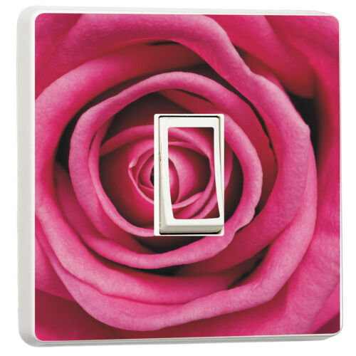 Pink rose close up Macro flower photo light switch cover 10028252 Floral