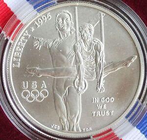 1995-D-Olympics-Gymnast-UNCIRCULATED-90-Silver-Dollar-Coin-Box-and-COA