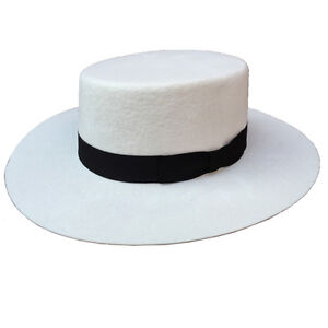 Luxurious White Panama Wool Boater Porkpie Flat Top Crown Fedora Hat ... efaf3563b32