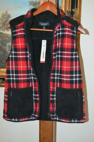 Talbots Sz Women's M 109 Nwt Vest Warmth Reverserbar Black Therma Plaid r46xrwf